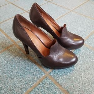 Franco Sarto Brown Leather Pumps Heels Size 6